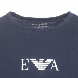 Lot de 2 tee-shirts col rond Emporio Armani bleu marine floqué du logo Eagle blanc