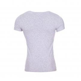 Tee-shirt col V Emporio Armani en coton stretch gris chiné à liserés jaune fluo et noirs