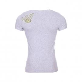 Tee-shirt col V Emporio Armani en coton stretch gris chiné floqué à l'arrière de l'épaule