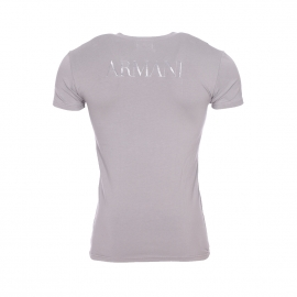 Tee-shirt col V Emporio Armani en coton stretch gris floqué en gris
