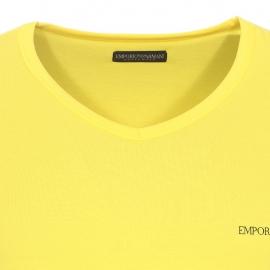 Tee-shirt col V Emporio Armani en coton stretch jaune citron floqué sur la manche