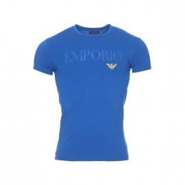Tee-shirt col rond Emporio Armani en coton stretch bleu roi floqué sur la poitrine et au dos