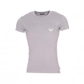 Tee-shirt col rond Emporio Armani en coton stretch gris acier floqué en gris