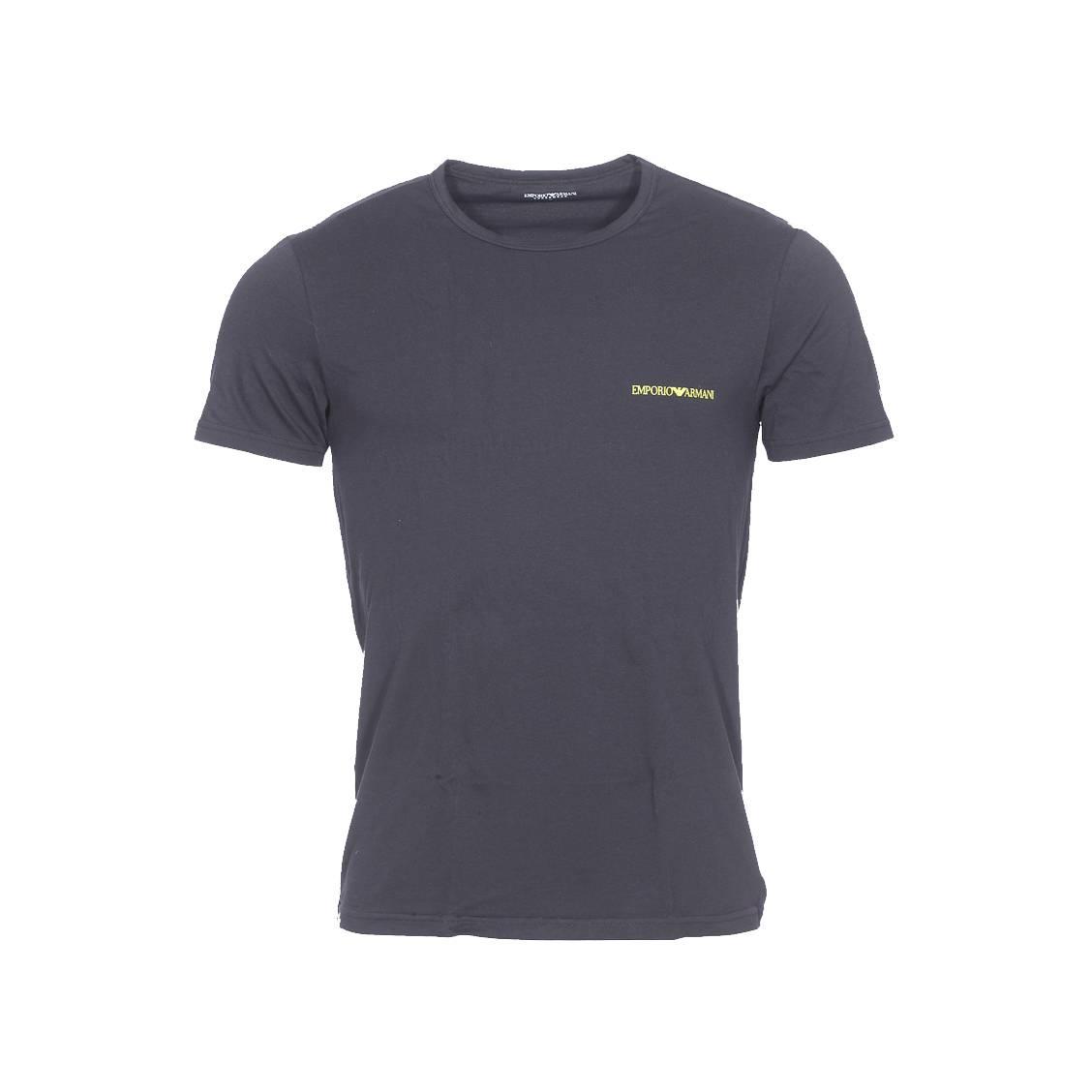 Tee-shirt col rond  en coton stretch noir, logo jaune