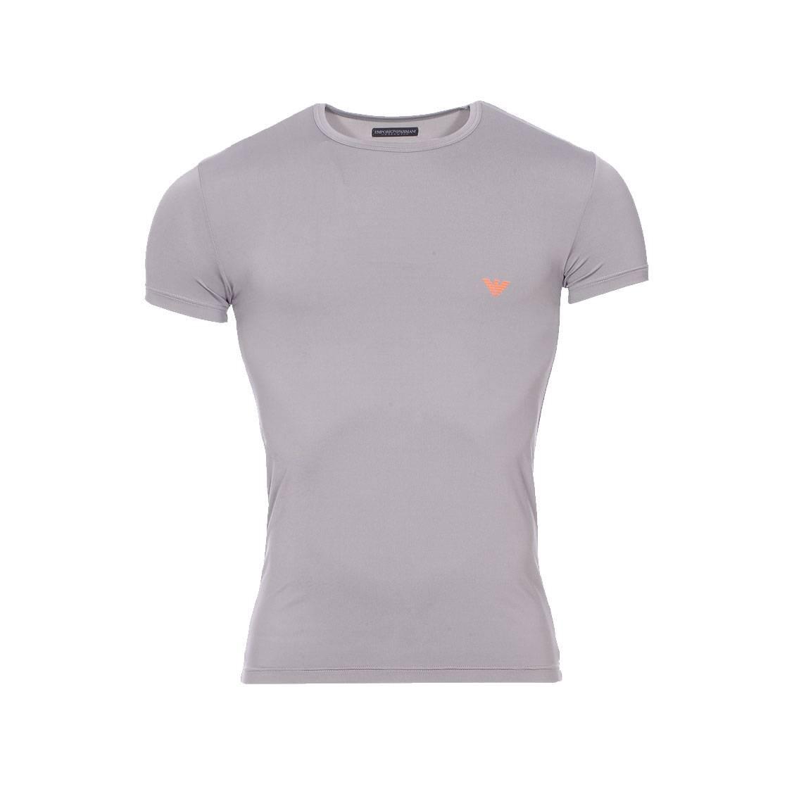 Tee-shirt col rond  en polyamide stretch gris acier à logo orange