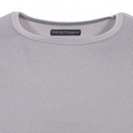 Tee-shirt col rond Emporio Armani en polyamide stretch gris acier à logo orange