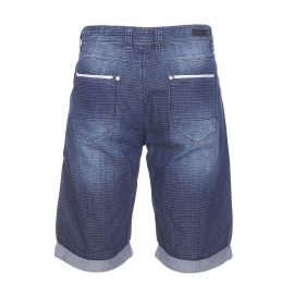 Bermuda Freeman T.Porter Filibert bleu jean à petits points brodés