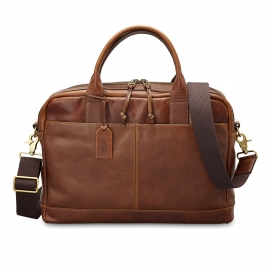 Porte-documents/ ordinateur 15 pouces Wyatt Fossil en cuir marron