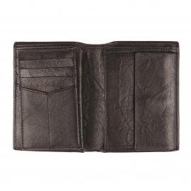 Portefeuille européen Fossil Ingram en cuir noir