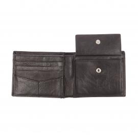 Portefeuille italien Ingram Fossil en cuir texturé noir à 3 volets