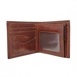 Portefeuille italien Ryan Fossil en cuir brillant marron à 3 volets