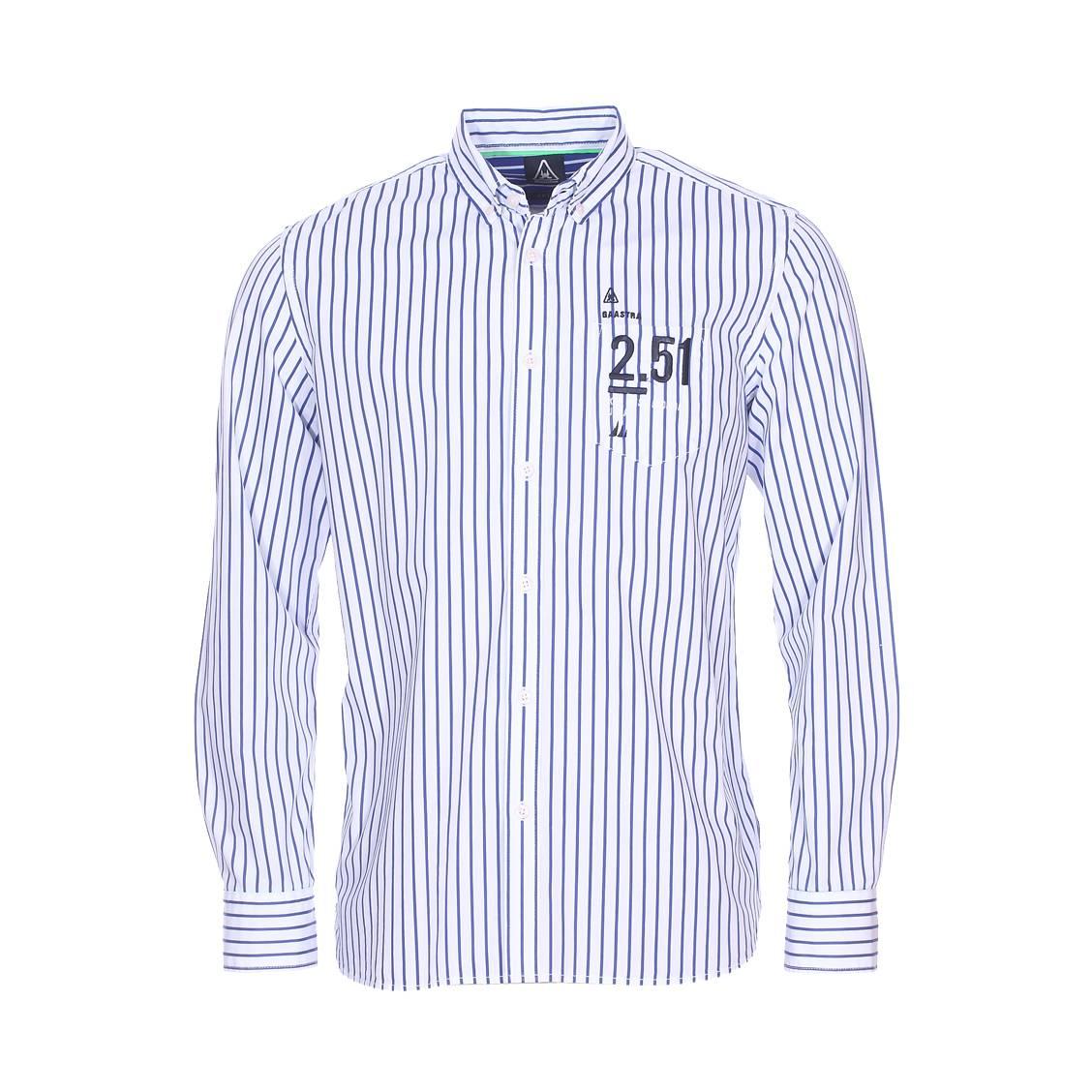 chemise droite gaastra en coton blanc rayures bleu roi rue des hommes. Black Bedroom Furniture Sets. Home Design Ideas