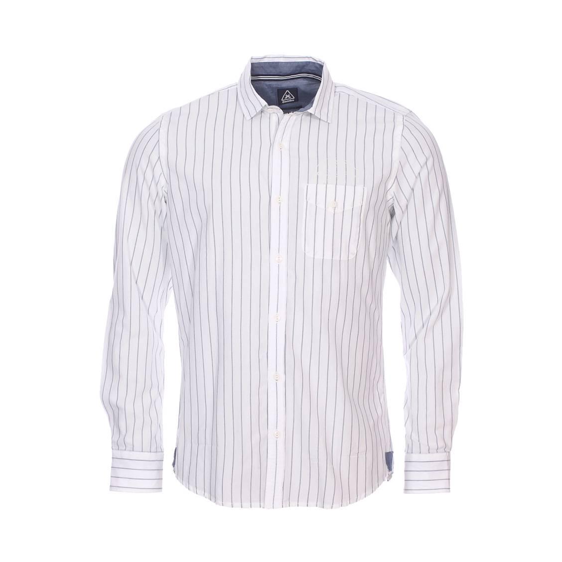 Chemise droite Gaastra en coton blanc à rayures bleu indigo