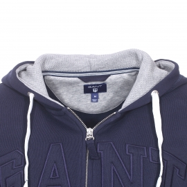 Sweat zippé à capuche Gant bleu marine brodé