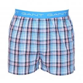 Lot de 2 caleçons Gant à petits carreaux turquoise, rouges et bleu marine et à carreaux multicolores