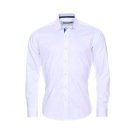 Chemise cintrée Gianni Ferrucci en coton blanc à opposition bleu ciel