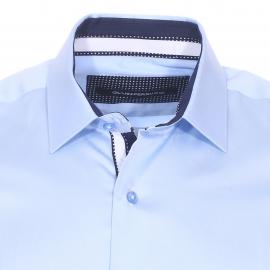 Chemise cintrée Gianni Ferrucci en coton bleu ciel  à opposition bleu marine