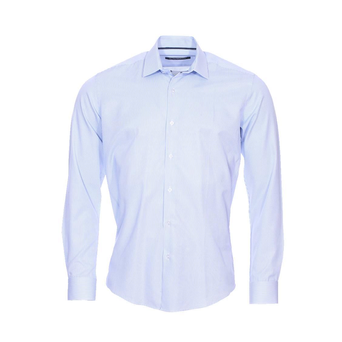 Chemise cintrée  en coton à rayures blanches et bleu ciel