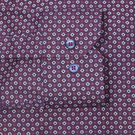 Chemise cintrée Gianni Ferrucci en coton bleu marine à fleurs bordeaux et blanches