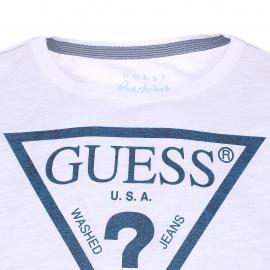 Tee-shirt col rond Guess en coton blanc floqué du logo en bleu marine