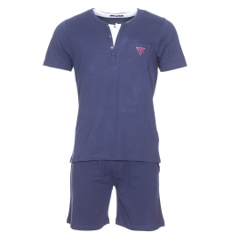 Pyjama court Guess : Tee-shirt en coton bleu marine à col tunisien effet double et bermuda bleu marine