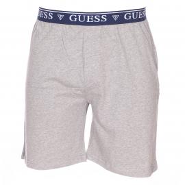 Pyjama court Guess : Tee-shirt en coton bleu marine à col tunisien et bermuda gris