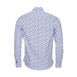 Chemise cintrée Fabrizio Harris Wilson en coton blanc à motifs fleurs bleu marine