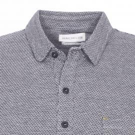 Polo Billy Harris Wilson en coton gris à petits motifs bleu marine