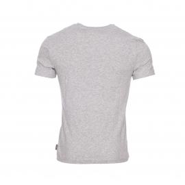 Tee-shirt col rond Bosco Harris Wilson en coton gris chiné à poche poitrine imprimée de palmiers