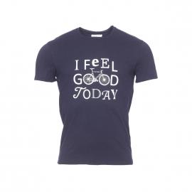 Tee-shirt col rond Boss Harris Wilson en coton bleu marine