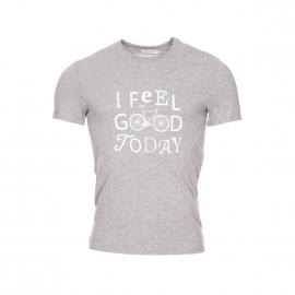 Tee-shirt col rond Boss Harris Wilson en coton gris chiné sérigraphié