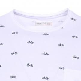 Tee-shirt col rond Boston Harris Wilson en coton blanc à imprimés bicyclettes