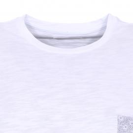 Tee-shirt col rond Brio Harris Wilson en coton flammé blanc, poche poitrine à motifs