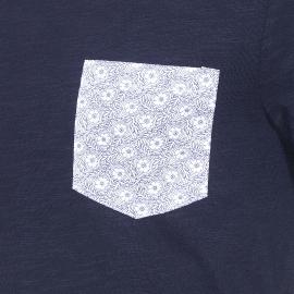 Tee-shirt col rond Brio Harris Wilson en coton flammé bleu marine, poche poitrine à motifs