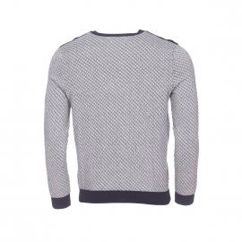 Pull col rond Dalmiro Harris Wilson en coton gris chiné à motifs ronds et traits bleu marine