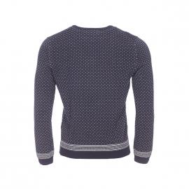 Pull col rond Dalmo Harris Wilson en coton bleu marine à petits motifs brodés écrus