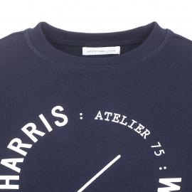 Sweat Babel Harris Wilson en coton bleu marine sérigraphié