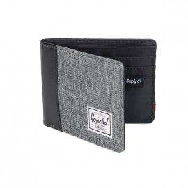 Portefeuille Herschel Edward en fil à fil gris chiné et simili cuir noir