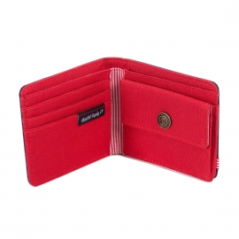 Portefeuille Roy 2 volets Herschel en tissu bleu marine à intérieur rouge