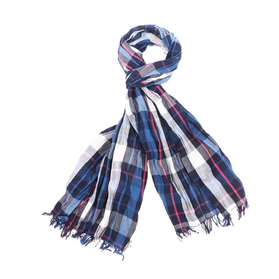 Chèche froissé  en coton à carreaux bleus, bleu marine, blancs, roses et gris
