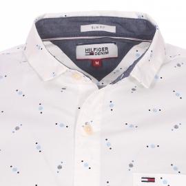 Chemise cintrée Hilfiger denim à petit col crème à motifs ronds bleu clair, bleu cyan et bleu marine