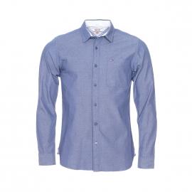 Chemise droite Hilfiger Denim fil à fil bleu marine brodée de petits motifs