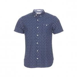 Chemise droite manches courtes Hilfiger Denim bleu marine à motifs blancs