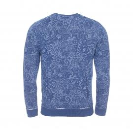 Sweat col rond Hilfiger Denim en coton bleu denim à motifs cachemire gris