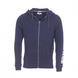 Sweat zippé à capuche Hilfiger Denim en coton bleu marine floqué sur les manches