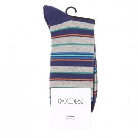 Chaussettes Allegro Hom en coton mélangé bleu marine à rayures bleues, gris chiné, vertes et orange