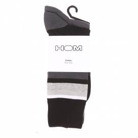 Lot de 2 paires de chaussettes Rumba Hom en coton mélangé anthracite uni et à rayures grises et noires