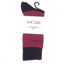Lot de 2 paires de chaussettes Simon Hom en fil d'écosse bleu marine uni et bleu marine à fines rayures roses