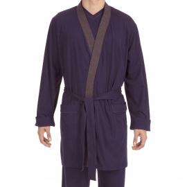 Kimono Hom Yoga en jersey de coton bleu marine à col gris chiné