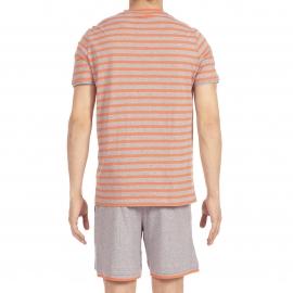 Pyjama court Charismatic Hom en jersey de coton : tee-shirt col V gris chiné à rayures orange et bermuda gris chiné